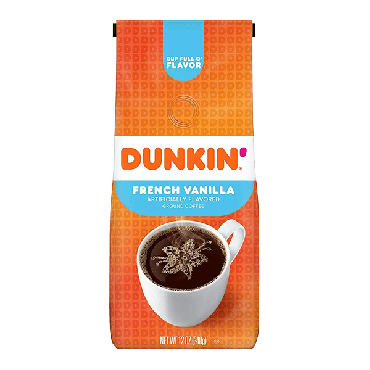 Dunkin Donuts French Vanilla Ground Coffee 340g (12oz) (Box of 6)