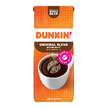 Dunkin Donuts Original Medium Roast Whole Bean Coffee 340g (12oz) (Box of 6)