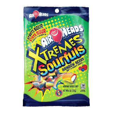 Air Heads Xtremes Sourfuls Rainbow Berry 170g (6oz) (Box of 12)