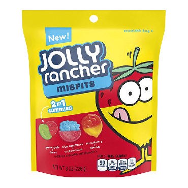 Jolly Rancher Misfits 2 in 1 Gummies Pouch 227g (8oz) (Box of 9)