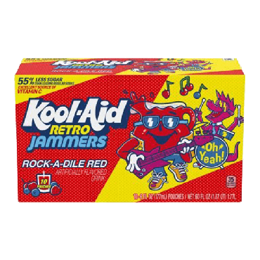 Kool Aid Jammers Rock-A-Dile Red (10 Pouches) 177ml (6 fl. oz) (Box of 4)