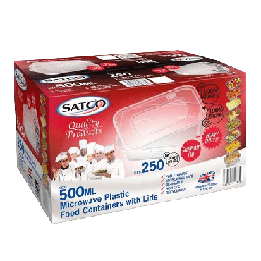 Satco Microwave Plastic Containers & Lids 500ml (Box of 250)