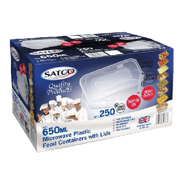Satco Microwave Plastic Containers & Lids 650ml (Box of 250)