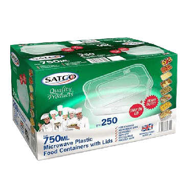 Satco Microwave Plastic Containers & Lids 750ml (Box of 250)