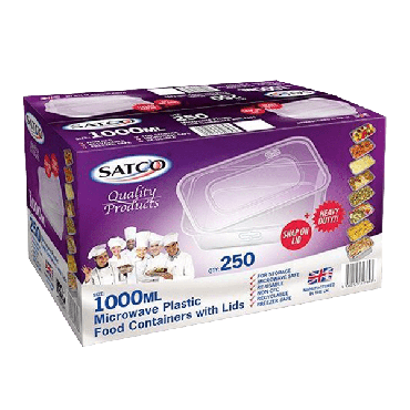 Satco Microwave Plastic Containers & Lids 1000ml (Box of 250)