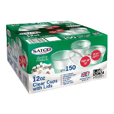 Satco Microwave 12oz Round Plastic Containers & Lids (Box of 150)