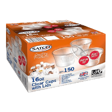 Satco Microwave 16oz Round Plastic Containers & Lids (Box of 150)