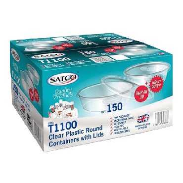 Satco Microwave T1100 Round Plastic Containers & Lids (Box of 150)