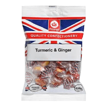 Fitzroy Union Jack Turmeric & Ginger Sweets 100g (Box of 12)