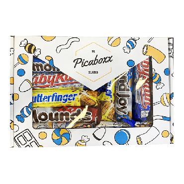 Picaboxx American Chocolates Selection Gift Hamper Box ★ 17 Products Premium Variety Pack ★ American Chocolate Hamper ★ Sweet Gift Box with Display Window (Box of 6)