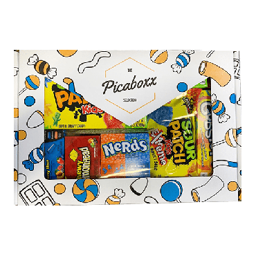 Picaboxx American Mixed Sweets Selection Gift Box ★ Premium Pack  ★ American Candy Hamper ★ Sweet Gift Box with Display Window (Box of 6)