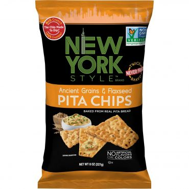 New York Style Ancient Grain & Flax Seed Pita Chips 226g (8oz) (Box of 12)