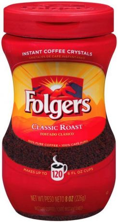 Folgers Classic Roast Instant Coffee Crystals 226g (8oz) (Box of 6)